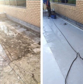 Before and after pictures of a jet washed roof. Introducing roof cleaning services