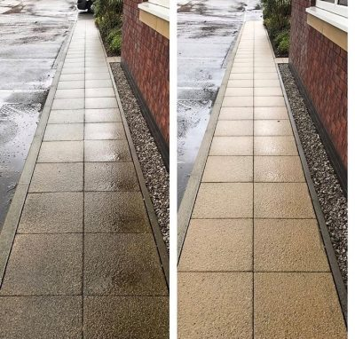 Picture showing a dirty pathway before Ultra Cleaning Services cleaned it and then the finished result. Introducing Ultra Cleaning Service's pathway cleaning solutions