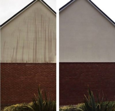 Picture of upper part of a house with white rendering showing a before and after of Ultra Cleaning Services cleaning the rendering