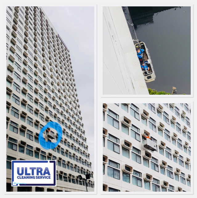 Ultra Cleaning Service rope access window cleaning - 3 pictures in one showing high level window cleaning