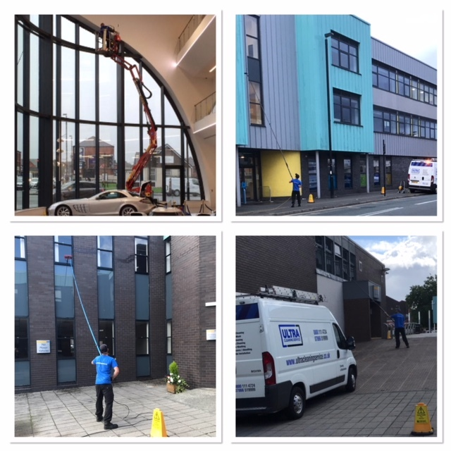 Ultra Cleaning Service - picture showing four types of commercial window cleaning including inside a car showroom and external reach and wash window cleaning